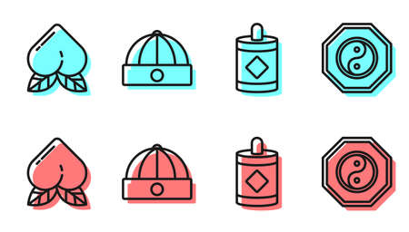 Set line Firework, Peach fruit, Chinese hat and Yin Yang icon. Vector Çizim