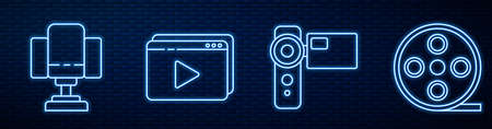 Set line Cinema camera, Director movie chair, Online play video and Film reel. Glowing neon icon on brick wall. Vector