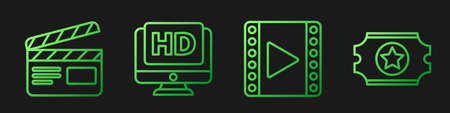 Set line Play Video, Movie clapper, Monitor with HD video and Cinema ticket. Gradient color icons. Vector