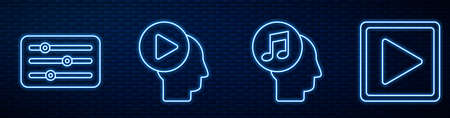 Set line Musical note in human head, Sound mixer controller, Head people with play button, Play in square and Pause button. Glowing neon icon on brick wall. Vector