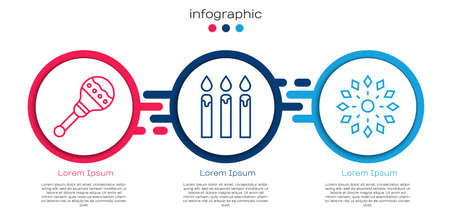 Set line Maracas, Birthday cake candles and Firework. Business infographic template. Vector