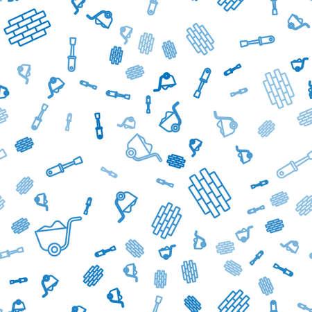 Set line Shovel, Bricks and Screwdriver on seamless pattern. Vector Illustration