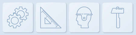 Set line Gear, Worker safety helmet, Triangular ruler and Hammer. White square button. Vector