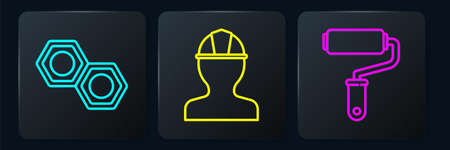 Set line Hexagonal metal nut, Paint roller brush and Worker safety helmet. Black square button. Vector Stock Illustratie