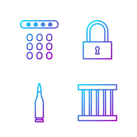 Set line Prison window, Bullet, Password protection and Lock. Gradient color icons. Vector.
