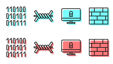 Set line Lock on computer monitor, Binary code, Barbed wire and Bricks icon. Vector.