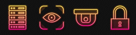 Set line Motion sensor, Server, Data, Web Hosting, Eye scan and Lock. Glowing neon icon. Vector.
