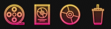 Set line CD or DVD disk, Film reel, CD disk award in frame and Paper glass with water. Glowing neon icon. Vector