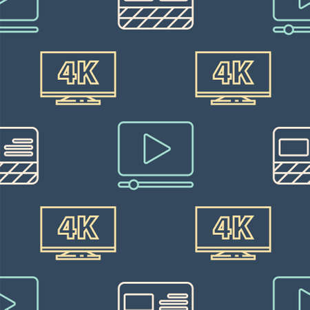 Set line Movie clapper, Screen tv with 4k and Online play video on seamless pattern. Vector