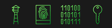 Set line Binary code, Watch tower, Fingerprint and Key. Gradient color icons. Vector