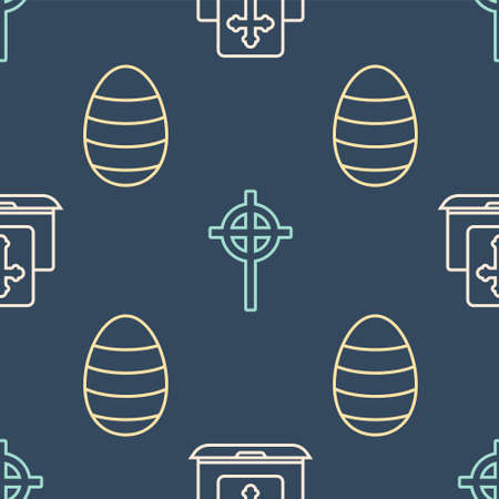 Set line Cross on the laptop screen, Easter egg and Christian cross on seamless pattern. Vector