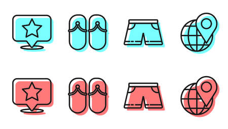 Set line Swimming trunks, Map pointer with star, Flip flops and Location on the globe icon. Vector