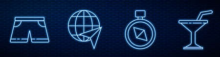Set line Compass, Swimming trunks, Globe with flying plane and Martini glass. Glowing neon icon on brick wall. Vector