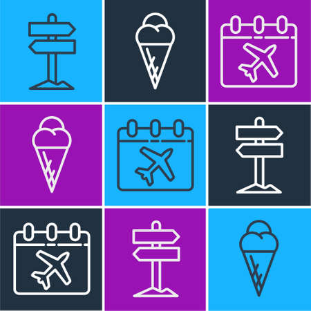 Set line Road traffic signpost, Calendar and airplane and Ice cream in waffle cone icon. Vector