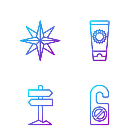 Set line Please do not disturb, Road traffic signpost, Wind rose and Sunscreen cream in tube. Gradient color icons. Vector