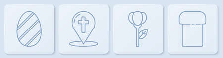 Set line Easter egg, Flower tulip, Map pointer with christian cross and Easter cake. White square button. Vector Иллюстрация