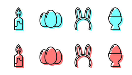 Set line Mask with long bunny ears, Burning candle, Easter eggs and Easter egg on a stand icon. Vector