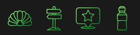 Set line Map pointer with star, Scallop sea shell, Road traffic signpost and Bottle of water. Gradient color icons. Vector