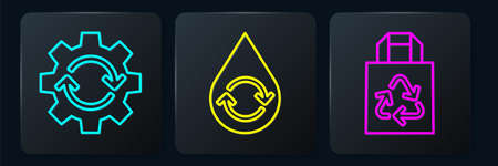Set line Gear and arrows as workflow, Paper bag with recycle and Recycle clean aqua. Black square button. Vector