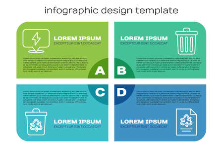 Set line Recycle bin with recycle, Lightning bolt, Paper with recycle and Trash can. Business infographic template. Vector