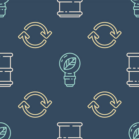 Set line Barrel, Refresh and Light bulb with leaf on seamless pattern. Vector  イラスト・ベクター素材