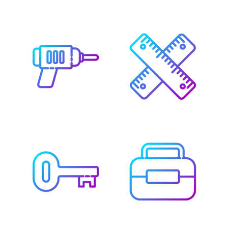 Set line Toolbox, Old key, Electric drill machine and Crossed ruler. Gradient color icons. Vector