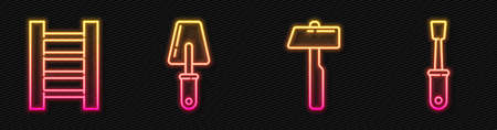 Set line Hammer, Wooden staircase, Trowel and Screwdriver. Glowing neon icon. Vector