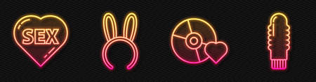 Set line Adult label on compact disc, Heart with text Sex, Mask with long bunny ears and Dildo vibrator. Glowing neon icon. Vector