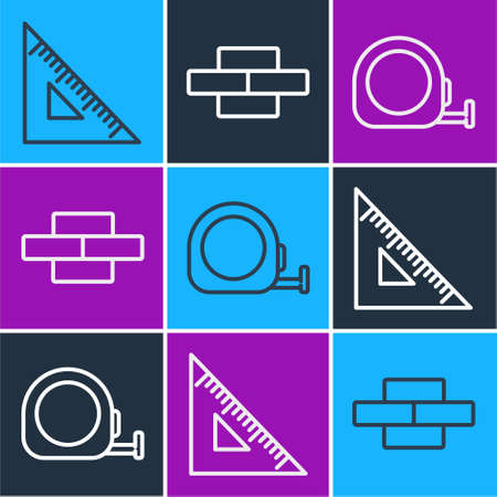 Set line Triangular ruler, Roulette construction and Bricks icon. Vector