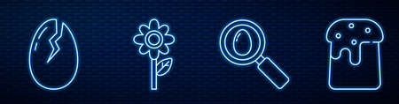 Set line Search and easter egg, Broken egg, Flower and Easter cake. Glowing neon icon on brick wall. Vector