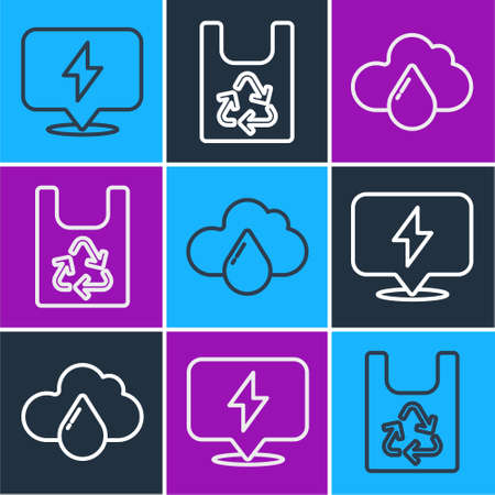 Set line Lightning bolt, Cloud with rain and Plastic bag with recycle icon. Vector