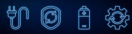 Set line Battery, Electric plug, Recycle symbol inside shield and Gear and arrows as workflow. Glowing neon icon on brick wall. Vector