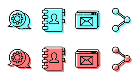 Set line Website and envelope, Speech bubble chat, Address book and Share icon. Vector