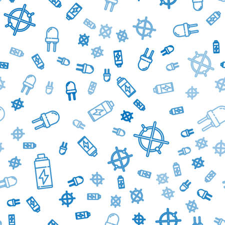 Set line Battery, Electric circuit scheme and Light emitting diode on seamless pattern. Vector.