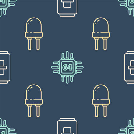 Set line Electric light switch, Light emitting diode and Processor with microcircuits CPU on seamless pattern. Vector.