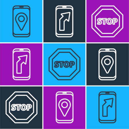 Set line City map navigation, Stop sign and City map navigation icon. Vector.