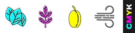 Set Leaf or leaves, Leaf or leaves, Plum fruit and Wind icon. Vector.