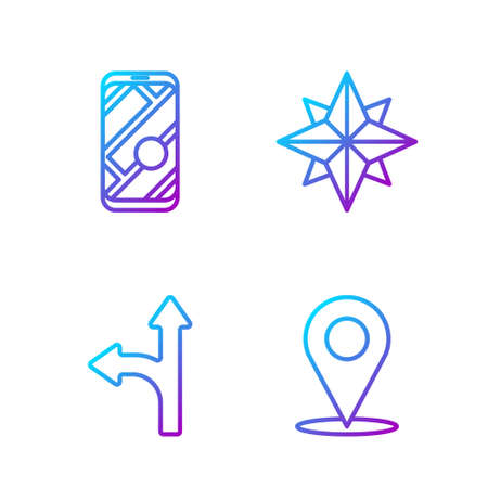 Set line Location, Road traffic sign, City map navigation and Wind rose. Gradient color icons. Vector.