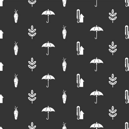 Set Meteorology thermometer, Leaf or leaves, Carrot and Umbrella on seamless pattern. Vector. Ilustrace