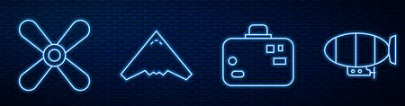 Set line Suitcase, Plane propeller, Jet fighter and Airship. Glowing neon icon on brick wall. Vector.