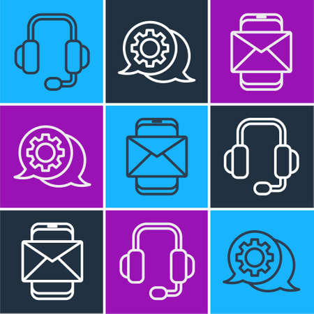 Set line Headphones, Mobile and envelope and Speech bubble chat icon. Vector.