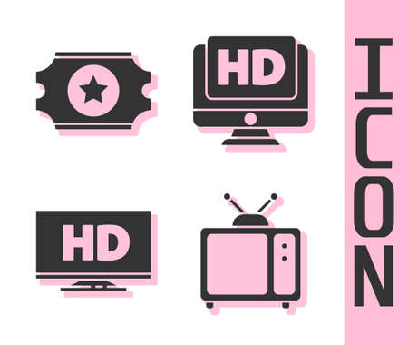 Set Retro tv, Cinema ticket, Smart display with HD video and Monitor with HD video icon. Vector. Ilustração