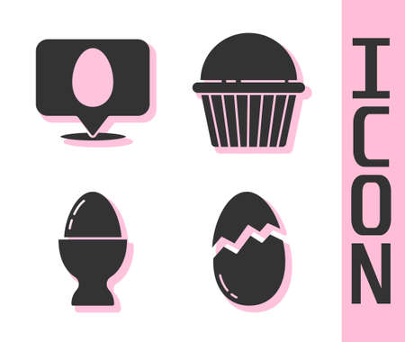 Set Broken egg, Speech bubble with easter egg, Easter egg on a stand and Easter cake icon. Vector. Ilustrace