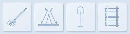 Set line Native American indian smoking pipe, Shovel, Indian teepee or wigwam and Railway, railroad track. White square button. Vector. Vettoriali