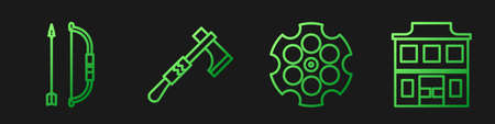 Set line Revolver cylinder, Bow and arrow in quiver, Tomahawk axe and Wild west saloon. Gradient color icons. Vector.
