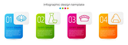 Set line Lotus flower, Chinese tea ceremony, Sushi and Sushi. Business infographic template. Vector.