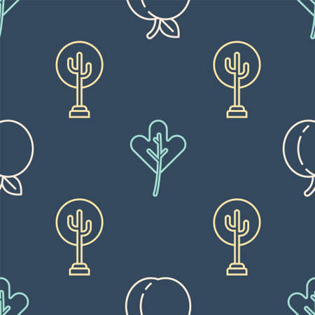 Set line Peach fruit, Tree and Leaf or leaves on seamless pattern. Vector.