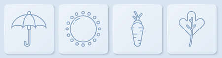 Set line Umbrella, Carrot, Sun and Leaf or leaves. White square button. Vector. Ilustrace
