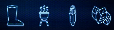 Set line Corn, Waterproof rubber boot, Barbecue grill, Leaf or leaves and Sun. Glowing neon icon on brick wall. Vector.