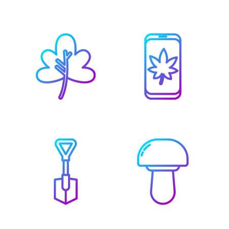 Set line Mushroom, Shovel, Leaf or leaves and Leaf on mobile phone. Gradient color icons. Vector.